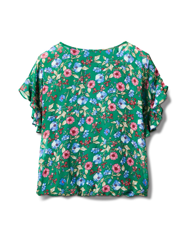 Floral Cold Shoulder Bubble Hem Blouse - Green - Back