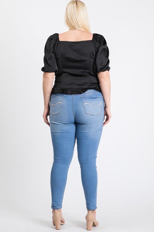 Satin Puff Sleeve Top - Black - Back