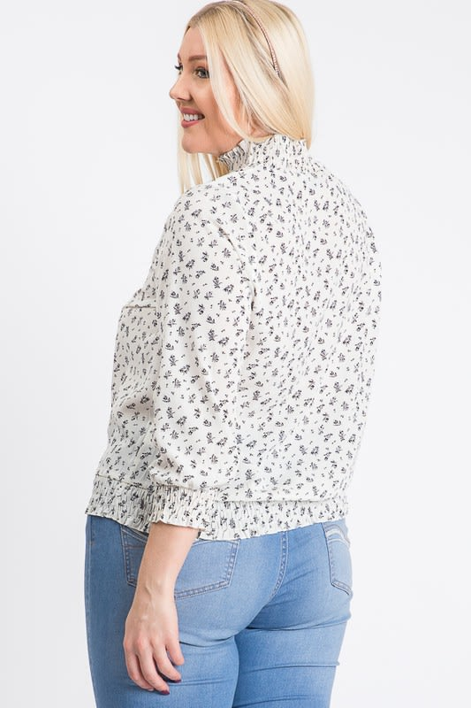 High-Neck Smocked-Waist Top - White - Front