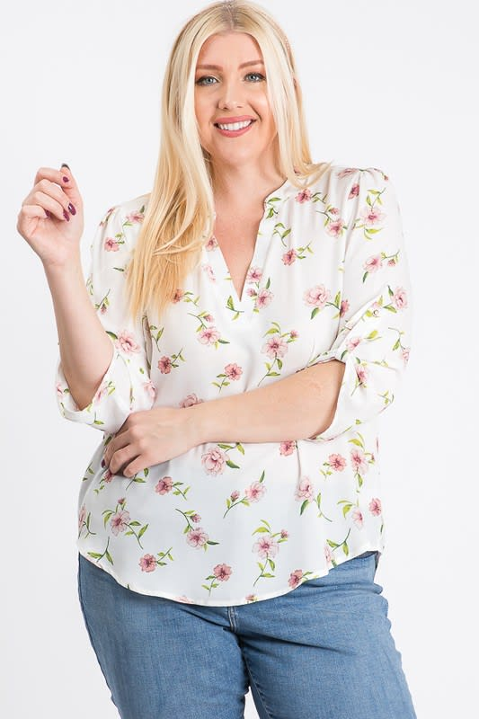 V-Neck Floral Top - White - Back