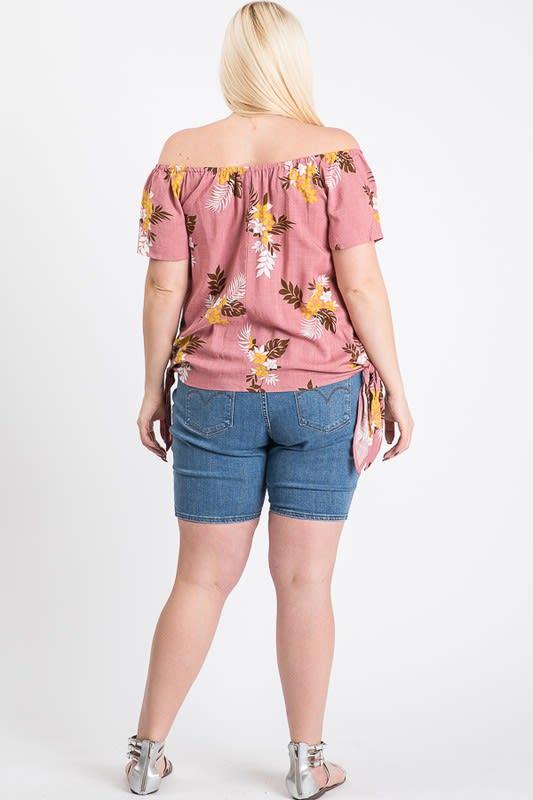 Floral Off-Shoulder Top - Mauve - Back
