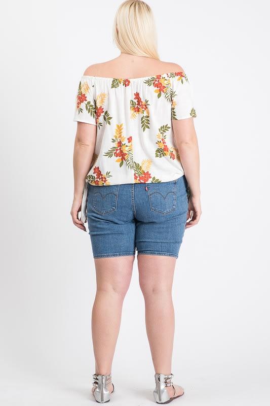 Floral Off-Shoulder Top - White - Back