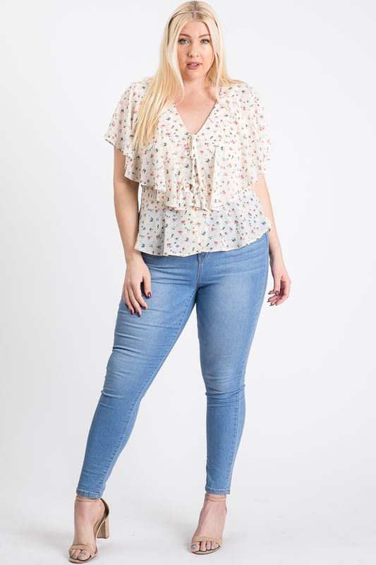 Have A Break Floral Top - Off White - Front