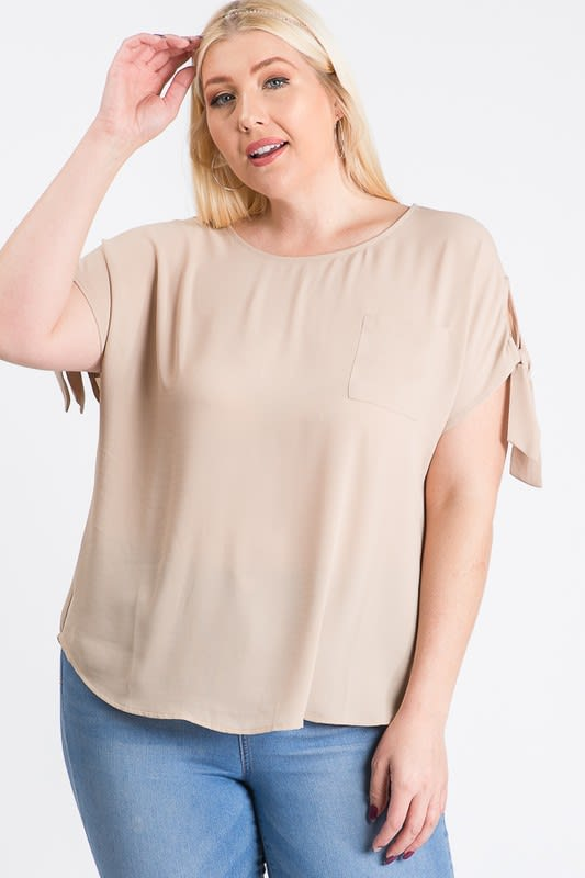 Ribbon Sleeve Top - Taupe - Front
