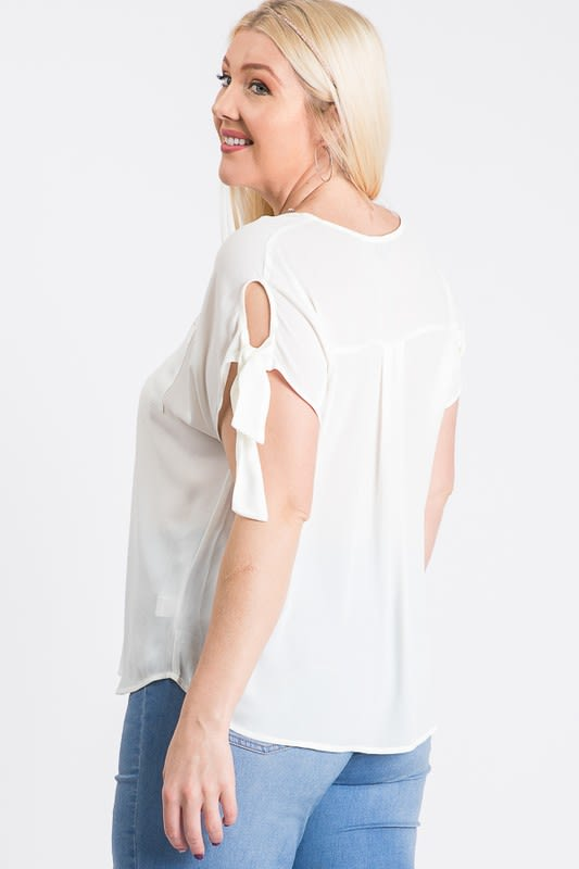 Ribbon Sleeve Top - White - Back