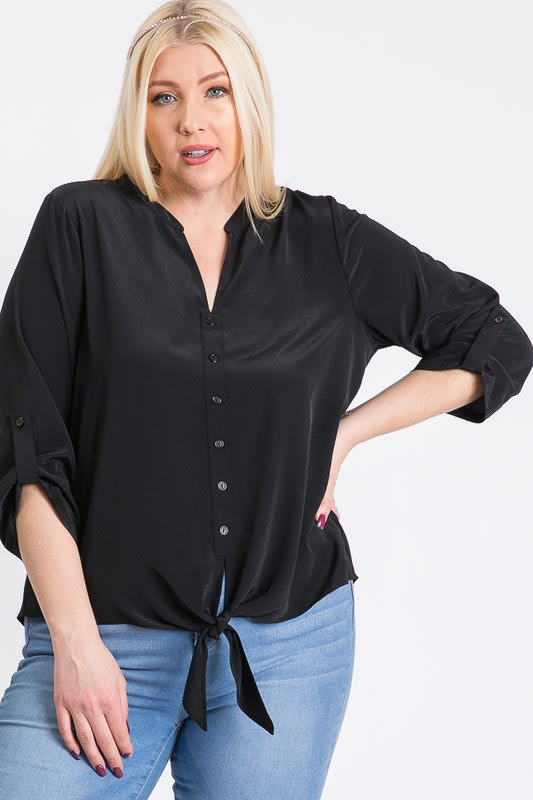 V-Neck Buttoned Shirt - Black - Front