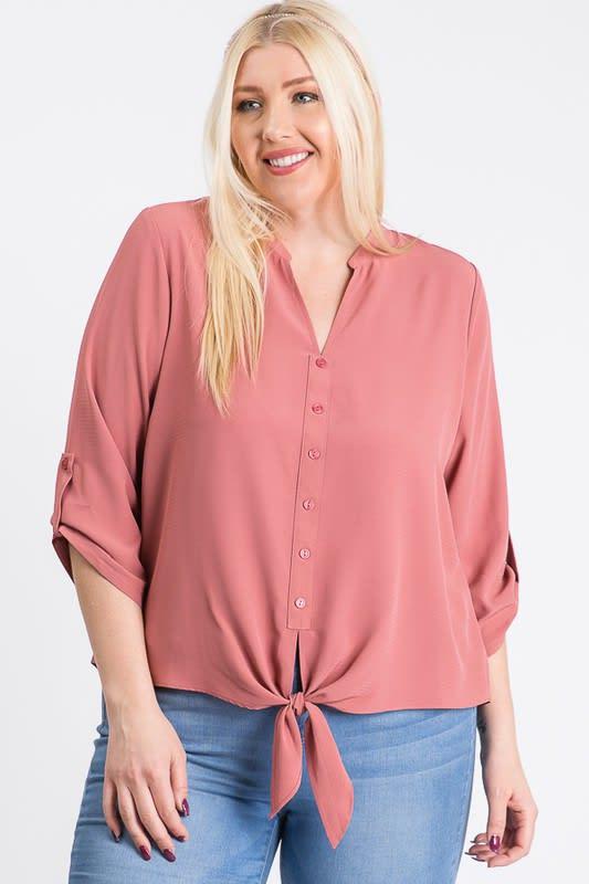 V-Neck Buttoned Shirt - Mauve - Front