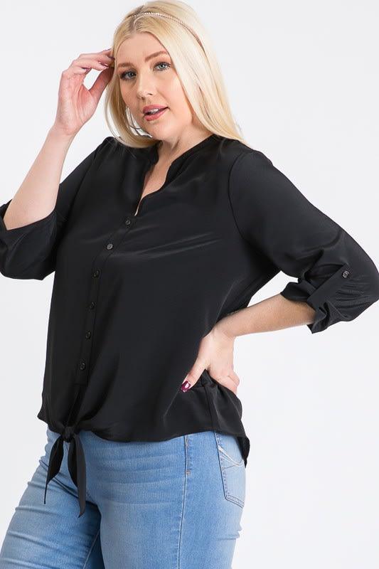 V-Neck Buttoned Shirt - Black - Back