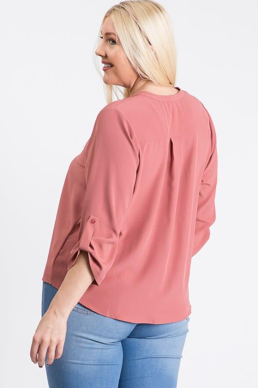 V-Neck Buttoned Shirt - Mauve - Back