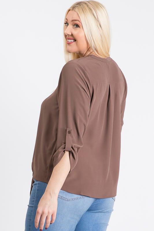 V-Neck Buttoned Shirt - Mocha - Back