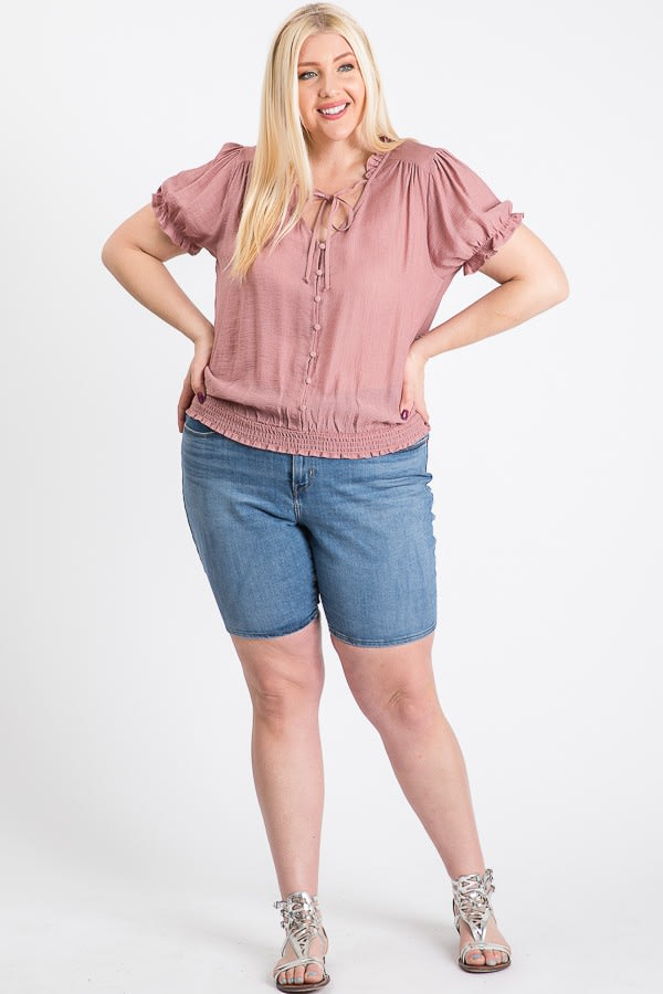 Frill Neck Smocking Top - Mauve - Front