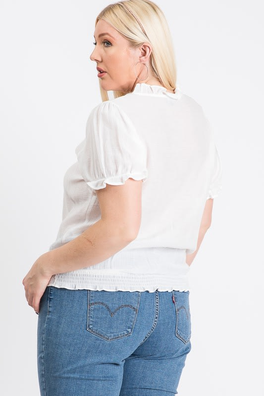 Frill Neck Smocking Top - White - Back
