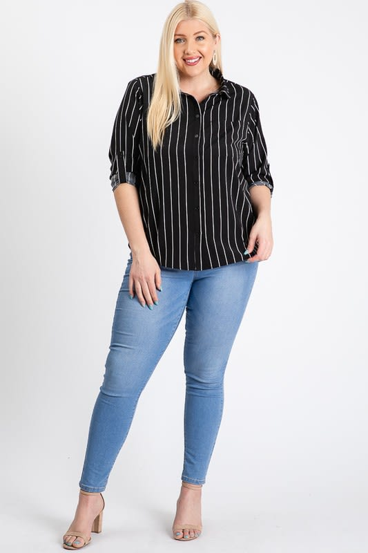 Multi-Use Stripped Top - Black - Front