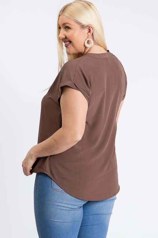 Much Needed Short Sleeve Top - Mocha - Back