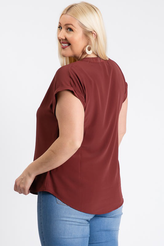 Much Needed Short Sleeve Top - Rust - Back