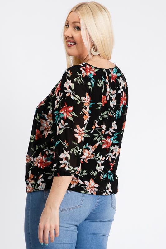Ah-mazing Chiffon Floral Top - Black - Back