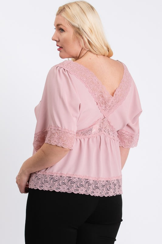 Super Sexy Lace Top - Pink - Back