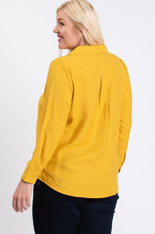 Collar Shirt - Mustard - Back
