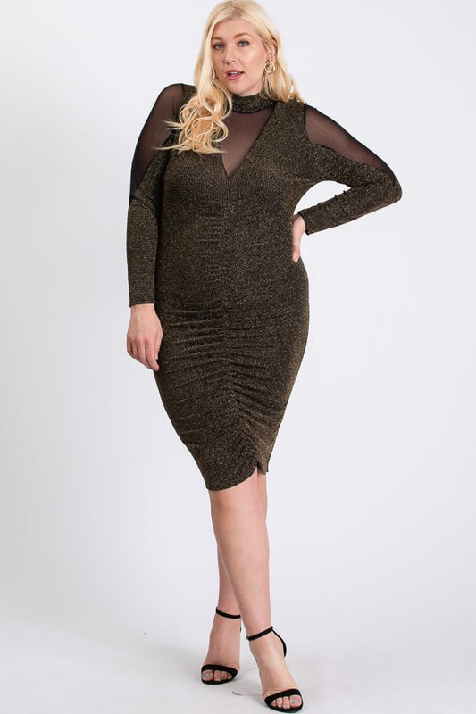 To Wow Glittery Dress - Gold - Front