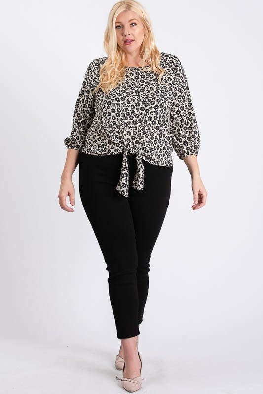 Flowery Bottom Tie Shirt - Black - Front