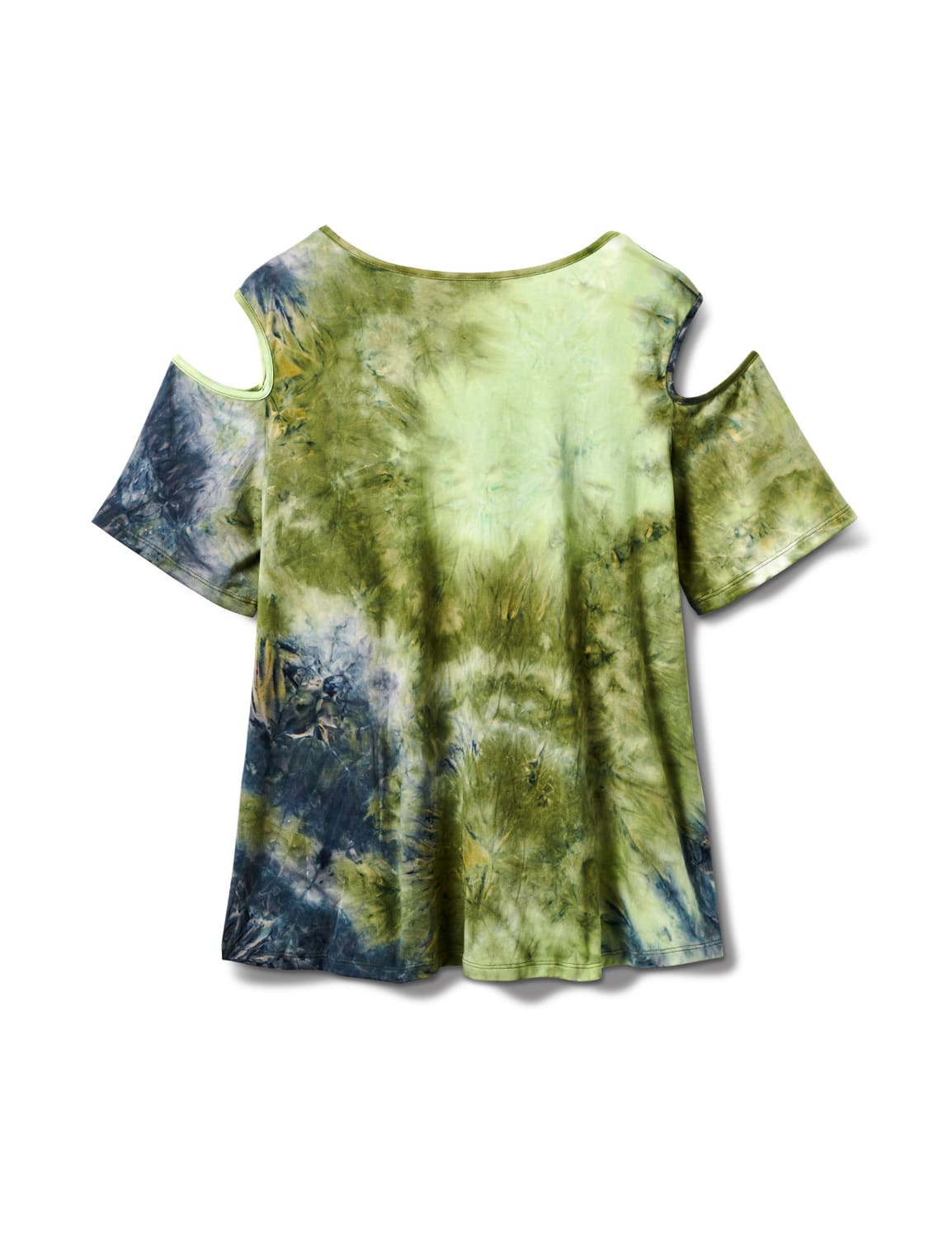 Denim Friendly Tie Dye Cold Shoulder - Navy/Green - Back