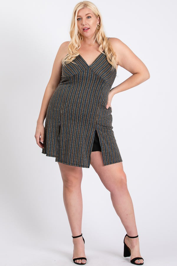 Casually Sexy Striped Dress - Black Multi - Front