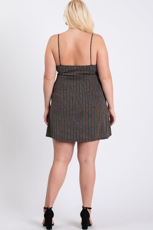 Casually Sexy Striped Dress - Black Multi - Back