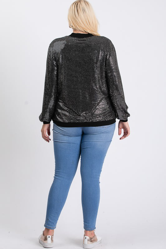 Bling Bling Sequin Jacket - Silver - Back