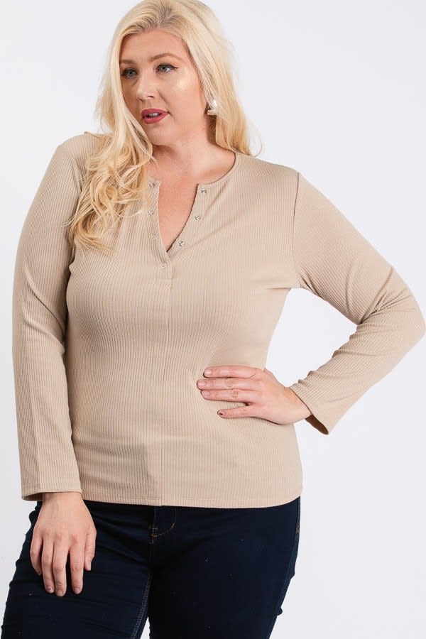 V-Neck Plain Sweater - Khaki - Front