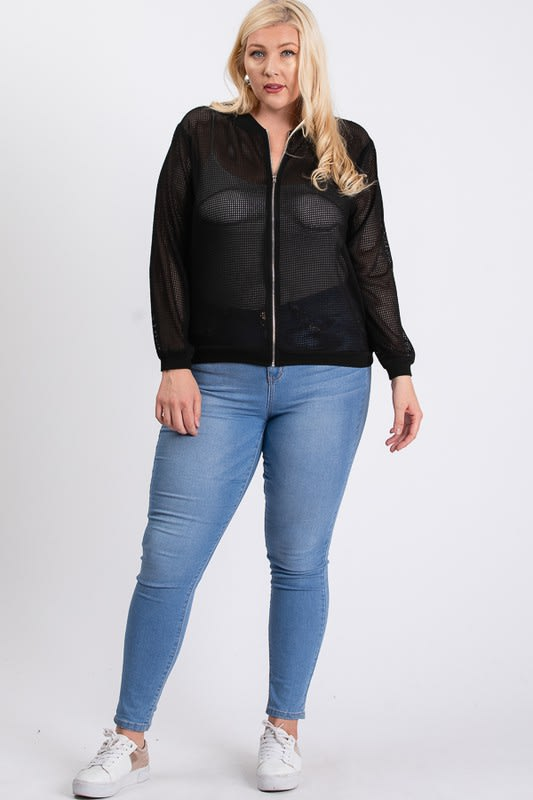 The Bold Fishnet Jacket - Black - Front