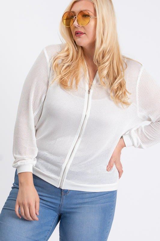 The Bold Fishnet Jacket - White - Front