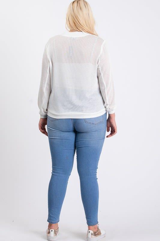The Bold Fishnet Jacket - White - Back