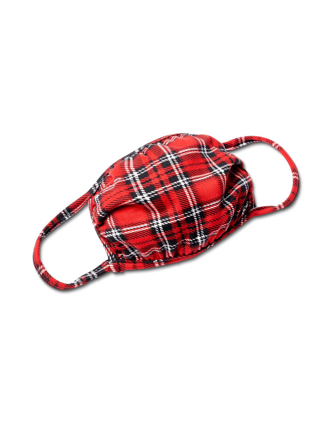 Red Plaid Fashion Mask - Red - Front