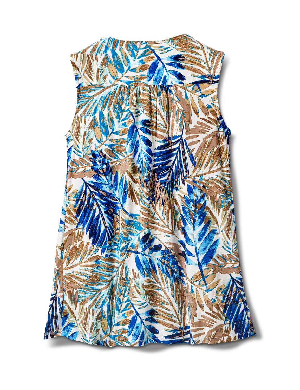Palm Print Henley Knit Popover - Ivory - Back