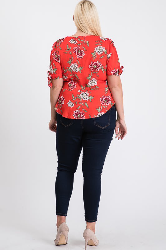 Big Flowers Over Wrap Top - Red - Back