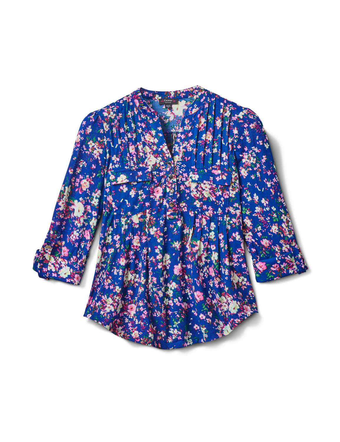 3/4 Purple Floral Pintuck Knit Popover-Petite - Navy-Purple - Front