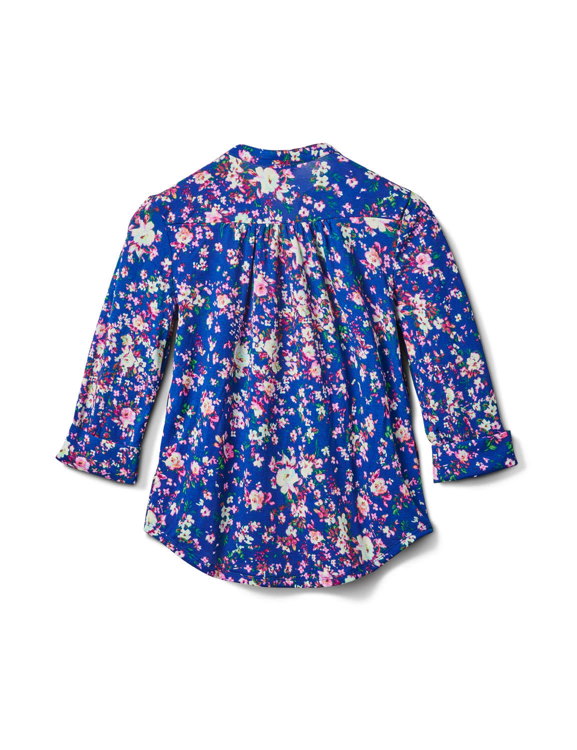 3/4 Purple Floral Pintuck Knit Popover-Petite - Navy-Purple - Back