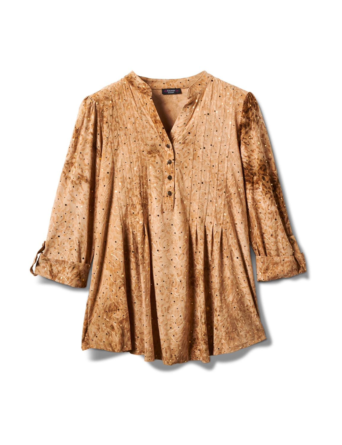 Shadow Jaquard Tie Dye Knit Popover - Taupe - Front