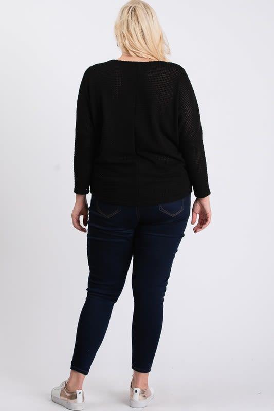 Waffle-Knit Jersey Top - Black - Back