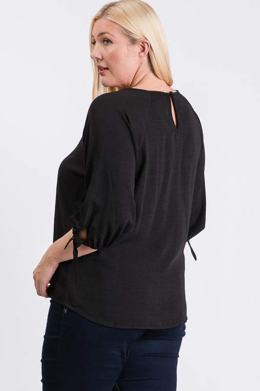 Daily Use Poly Linen Top - Black - Back