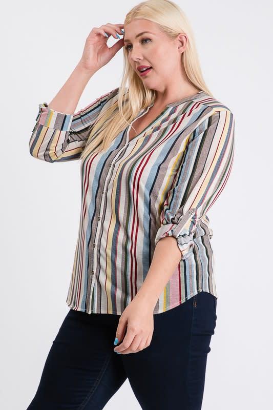 Relaxed Multi-Stripe Shirt - Black / Rust - Back