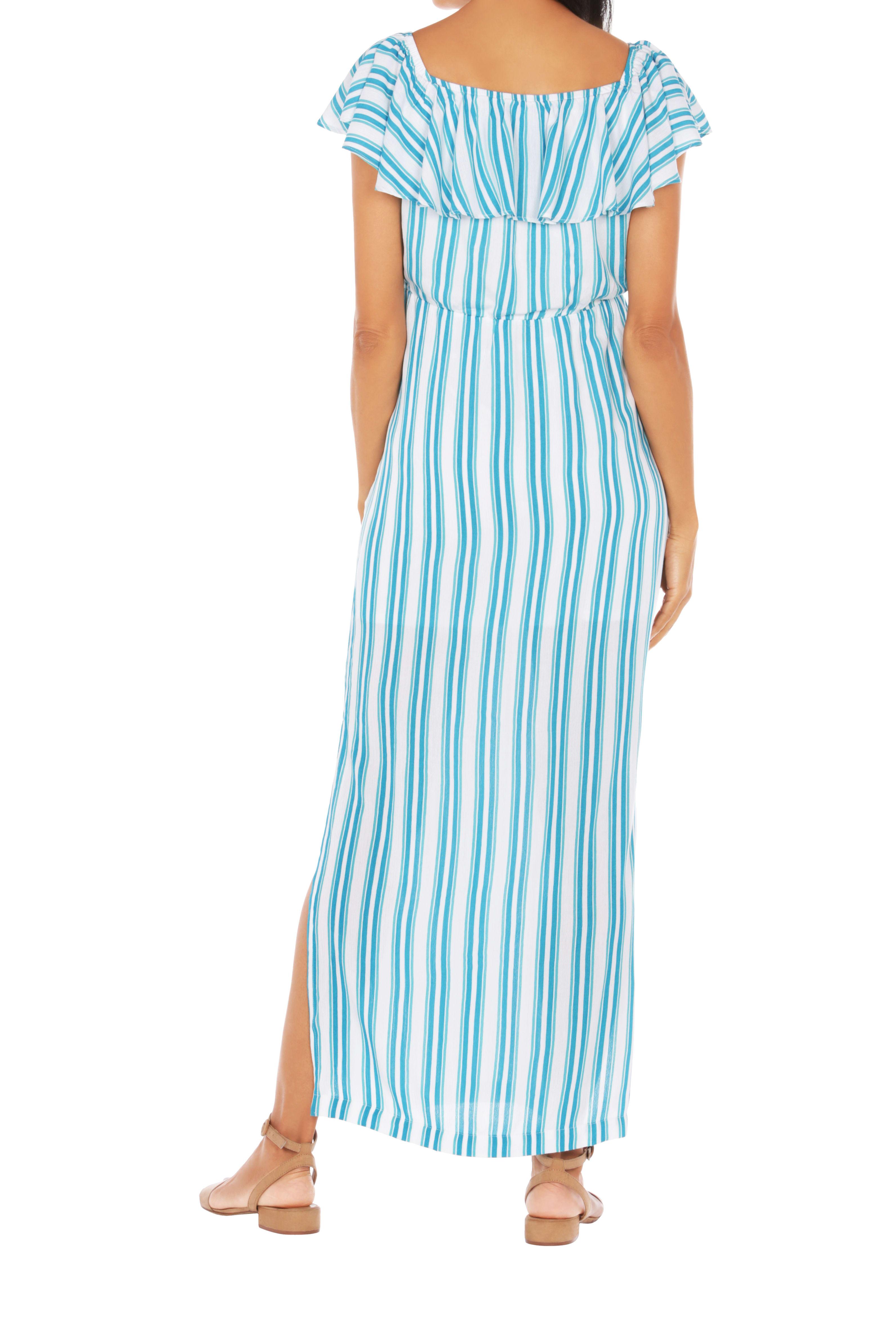 Caribbean Joe® Off The Shoulder Maxi Dress - Blue/Green - Back
