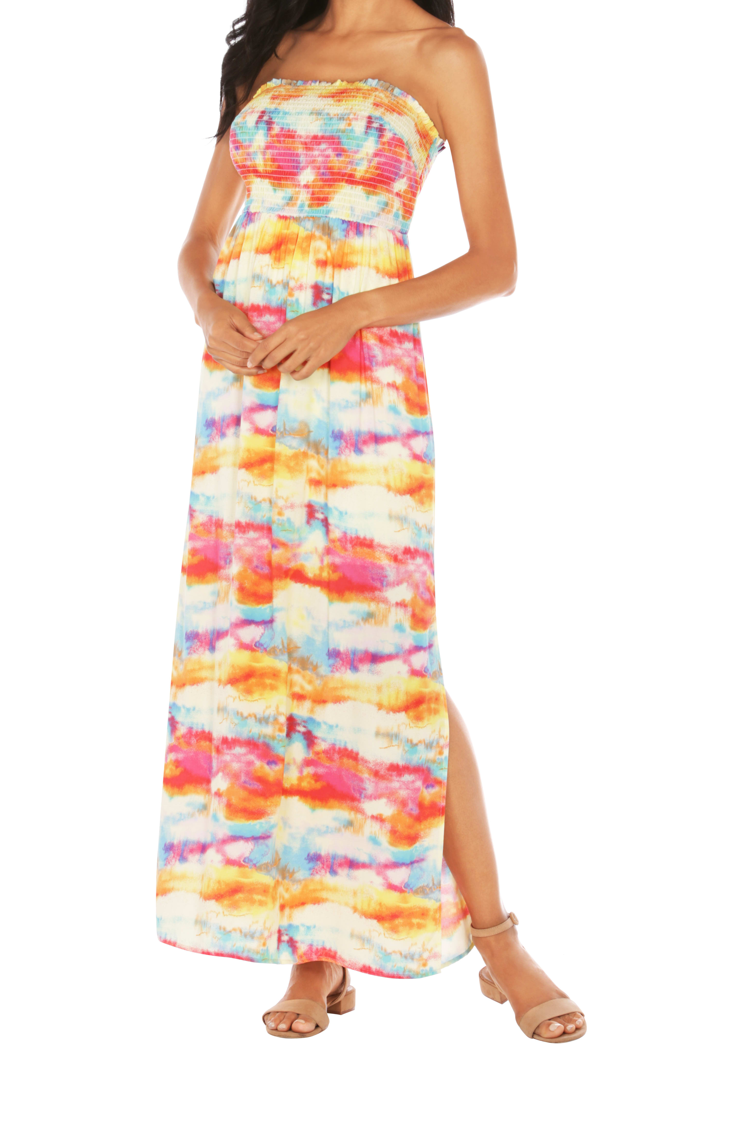 Caribbean Joe® Smocked Maxi Dress - Saffron - Front