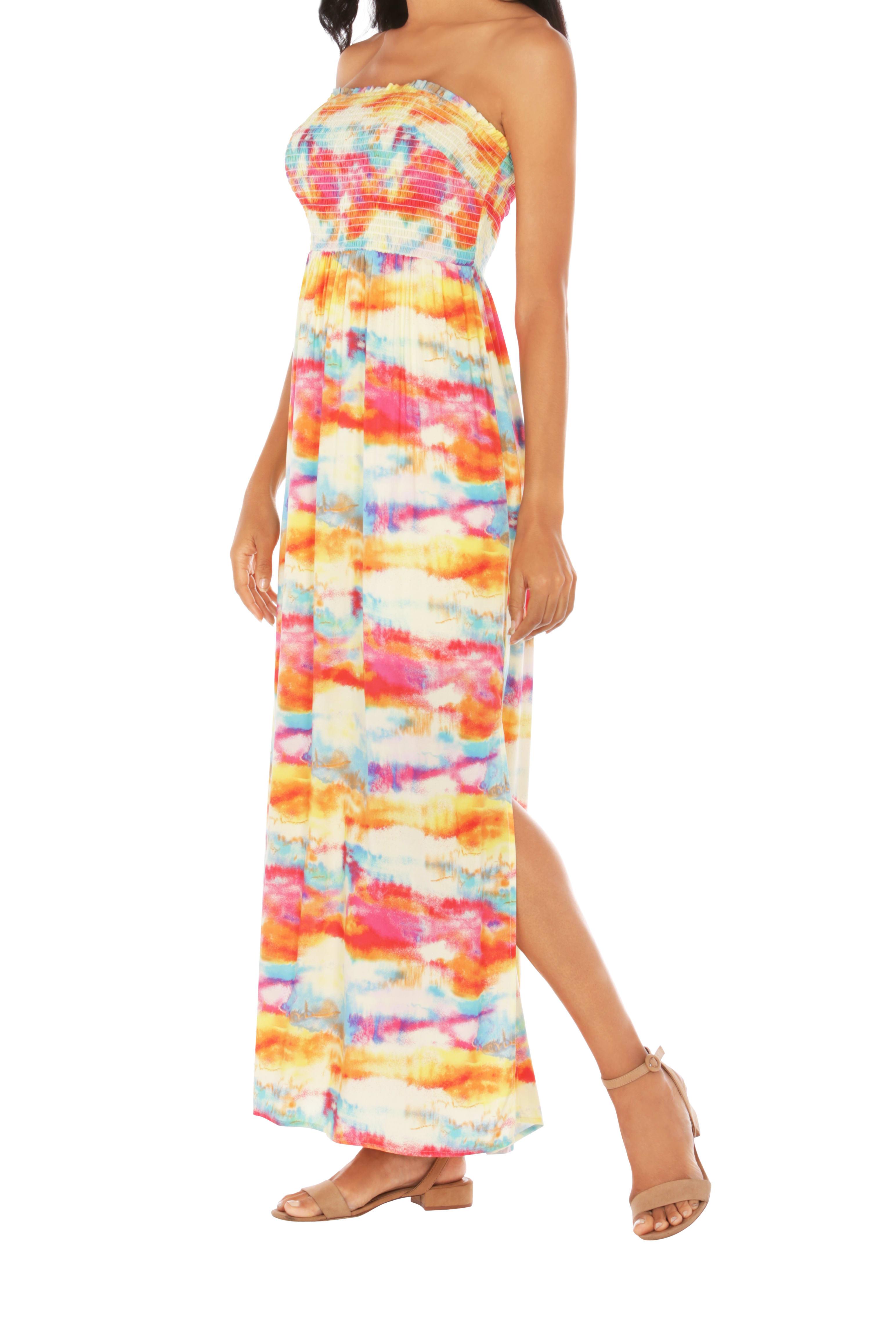 Caribbean Joe® Smocked Maxi Dress - Saffron - Detail