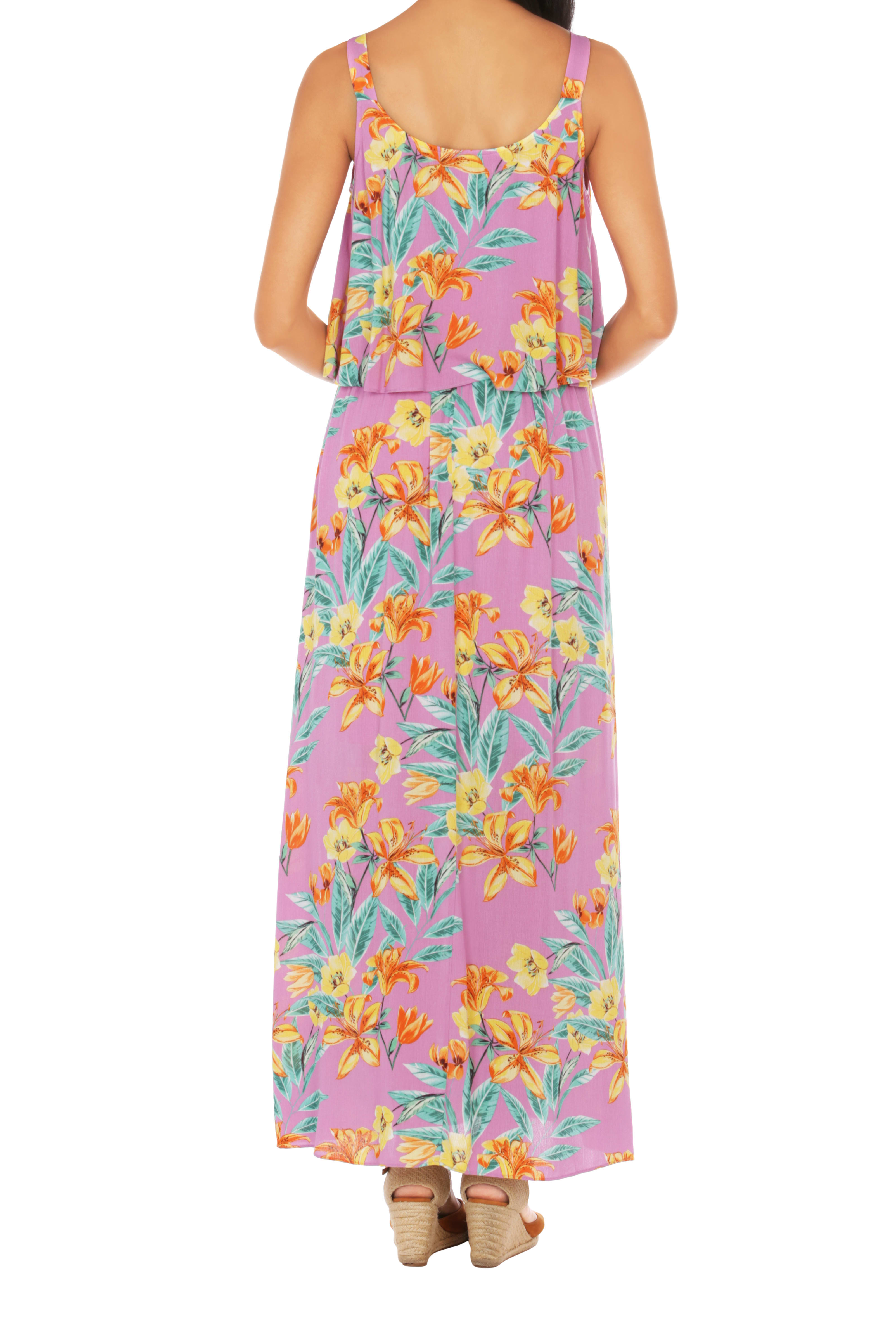 Caribbean Joe® Double Layer Maxi Dress - Pink - Back