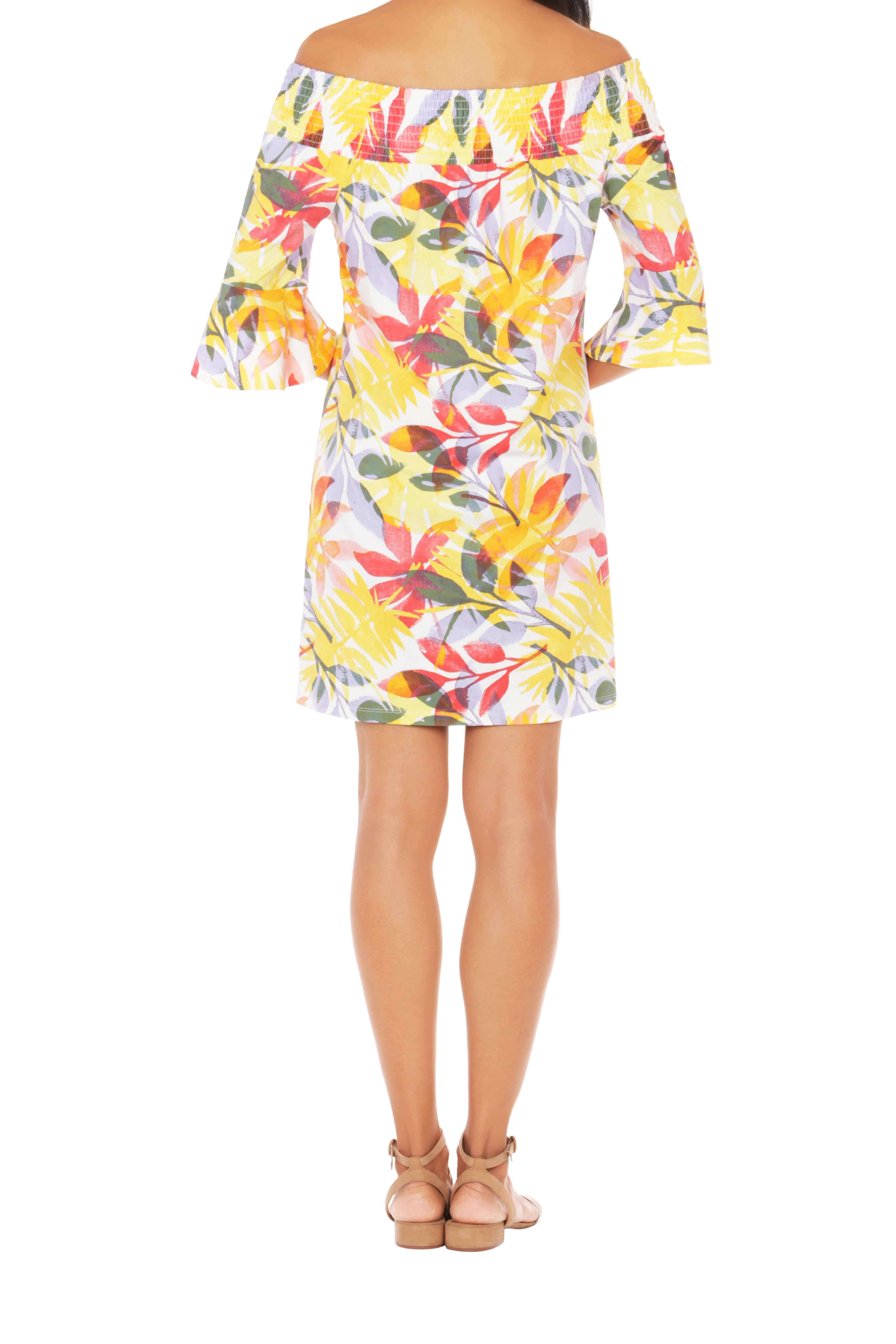 Caribbean Joe® UPF Sun Protection Off the Shoulder Dress - Sunrise - Back