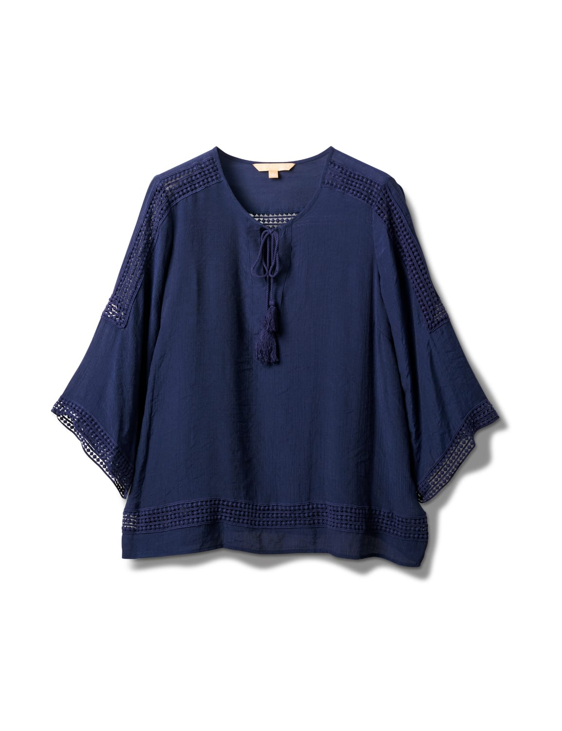 Crochet Trim Tassel Textured Blouse - Navy Blazer - Front