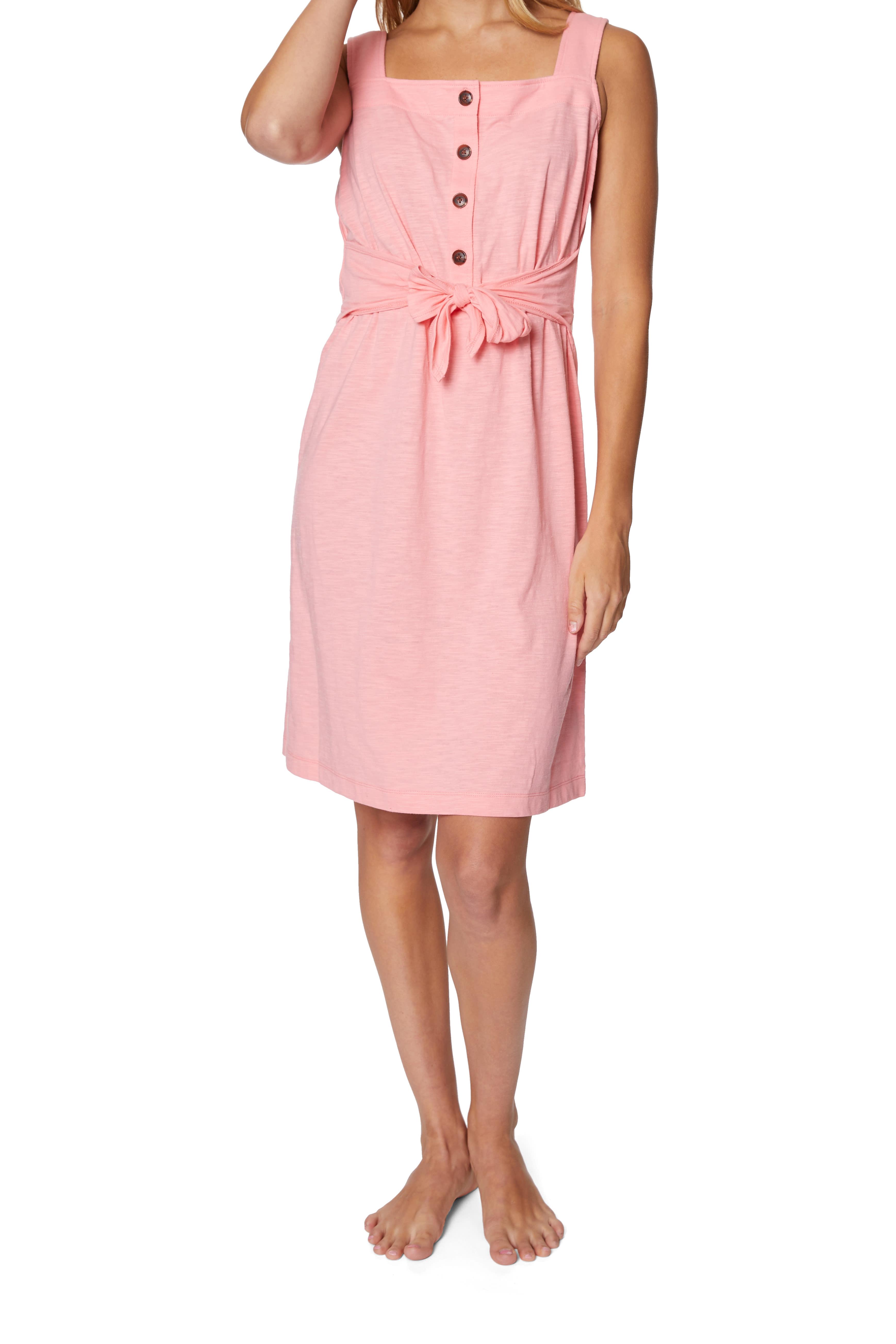 Caribbean Joe® Front Knot Button-Up Dress - Pink - Front