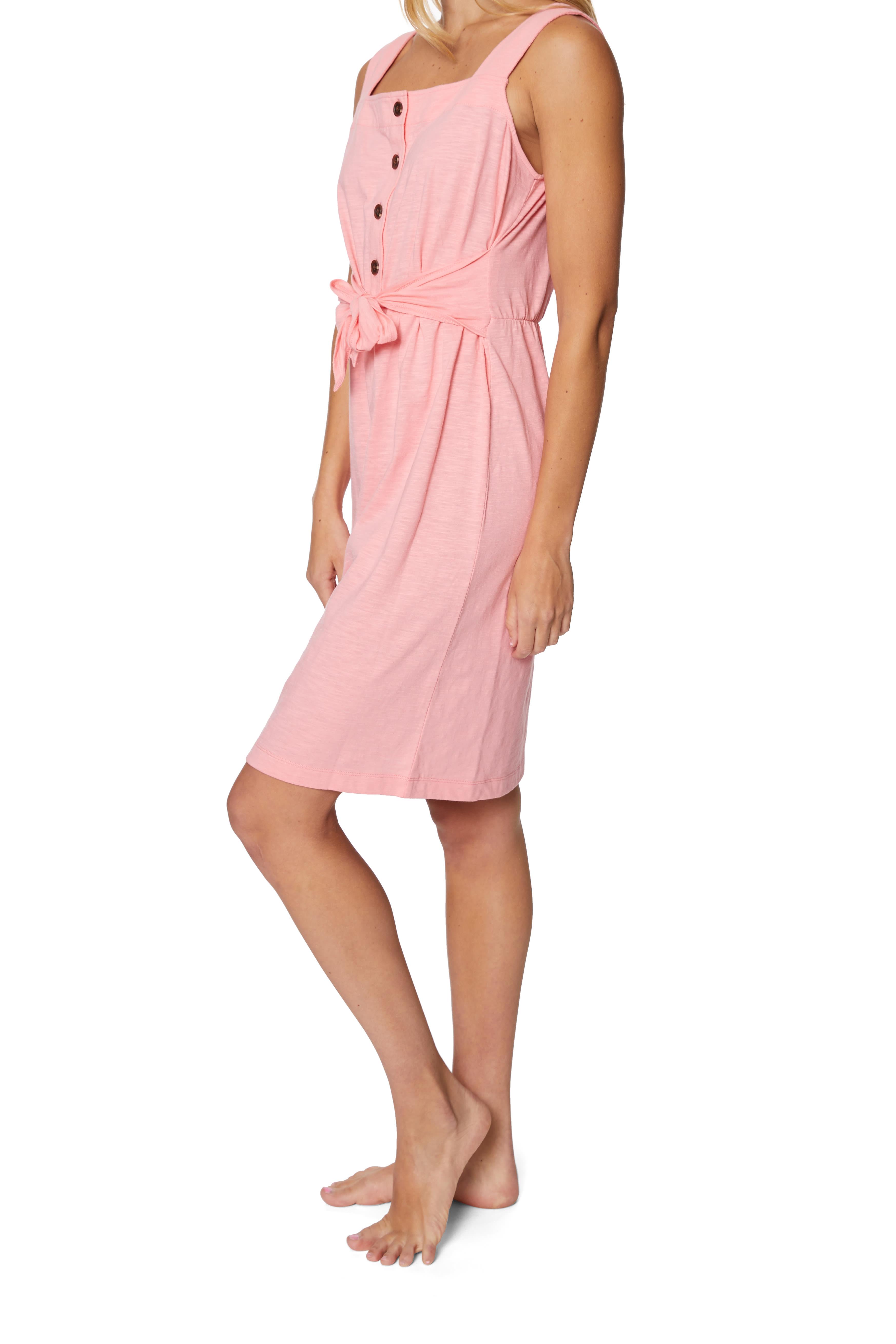 Caribbean Joe® Front Knot Button-Up Dress - Pink - Detail