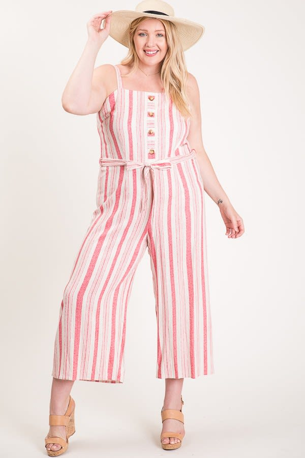 Step Into Summer Jumpsuit - Pink - Front